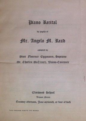 Teresa Vanderburgh's Musical Scrapbook #2 - Program for a Piano Recital by the Pupils of Mr. Angelo M. Read