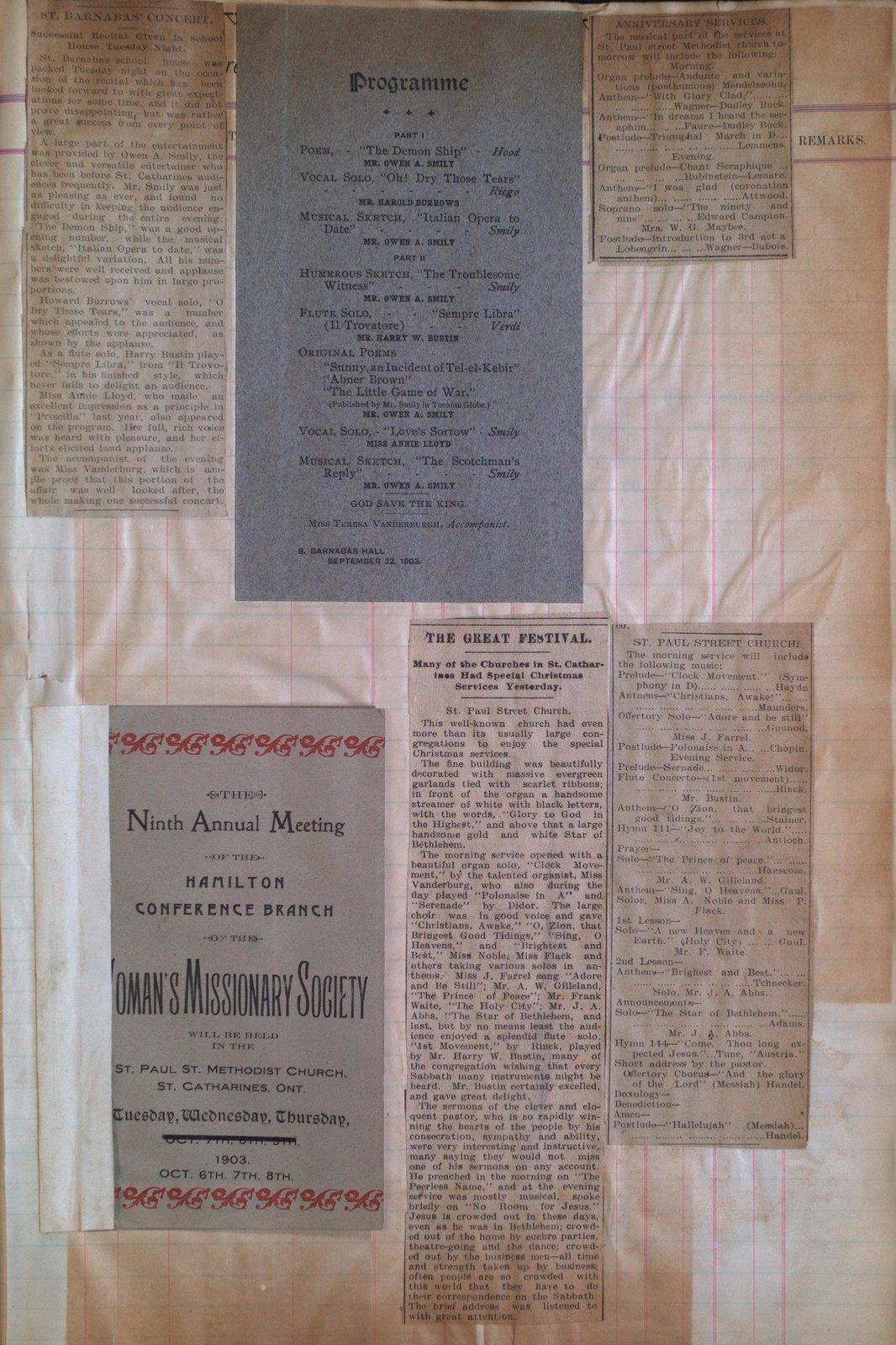 Teresa Vanderburgh's Musical Scrapbook #2 - Newspaper Clippings and Concert Programs