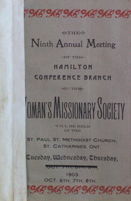 Teresa Vanderburgh's Musical Scrapbook #2 - Ninth Annual Meeting of the Woman's Missionary Society: Hamilton Conference Branch