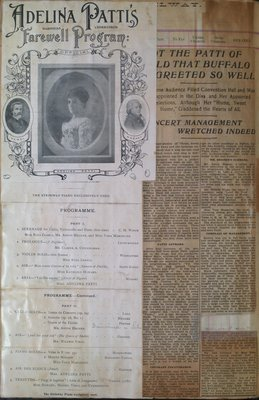Teresa Vanderburgh's Musical Scrapbook #2 -  Adelina Patti's Farewell Program and Newspaper a Review
