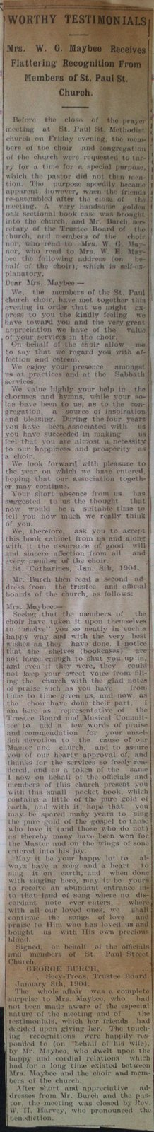 Teresa Vanderburgh's Musical Scrapbook #2 - A Newspaper Clipping Describing the Recognition of Mrs. Maybee