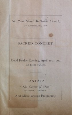 Teresa Vanderburgh's Musical Scrapbook #2 - Program for a Sacred Concert at St. Paul Street Methodist Church