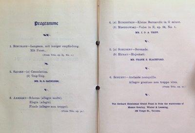 Teresa Vanderburgh's Musical Scrapbook #2 - Schumann Trio Concert Program