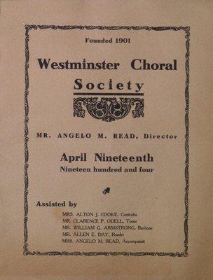 Teresa Vanderburgh's Musical Scrapbook #2 - Westminster Choral Society Program