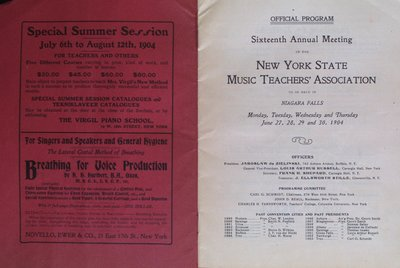 Teresa Vanderburgh's Musical Scrapbook #2 - Program for the Sixteenth Annual Meetinf of The New York State Music Teachers' Association