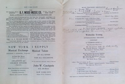 Teresa Vanderburgh's Musical Scrapbook #2 - Program for the Sixteenth Annual Meeting of the New York State Music Teachers' Association