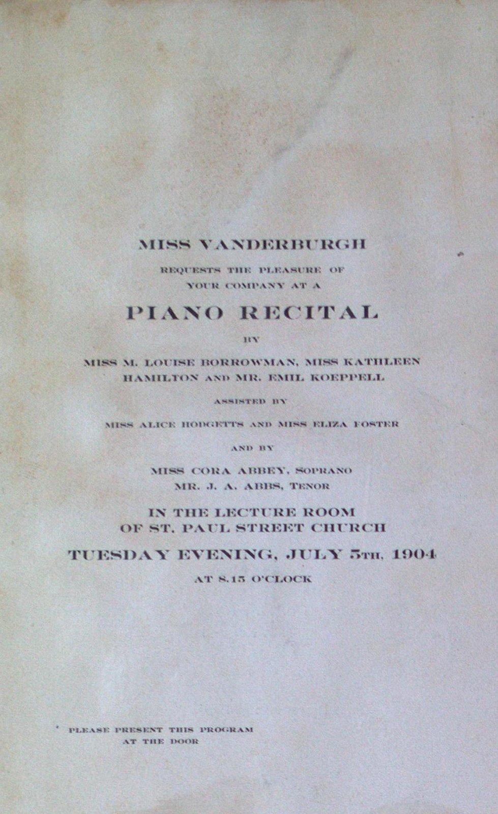 Teresa Vanderburgh's Musical Scrapbook #2 - Program for a Piano Recital