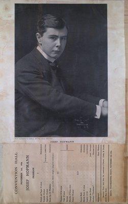Teresa Vanderburgh's Musical Scrapbook #2 - Portrait and Program for Pianist Josef Hofmann