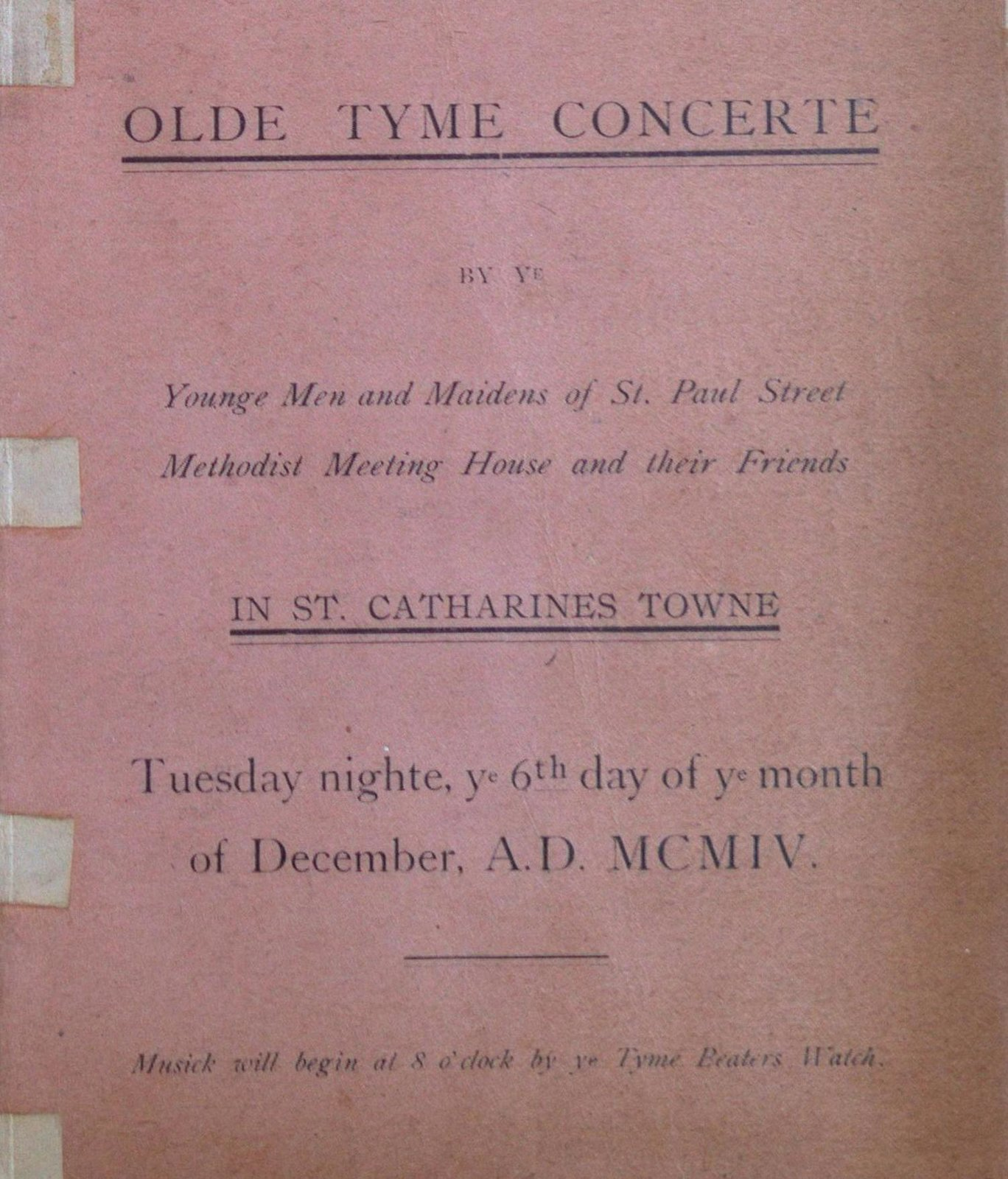 Teresa Vanderburgh's Musical Scrapbook #2 - Program for an Olde Tyme Concerte