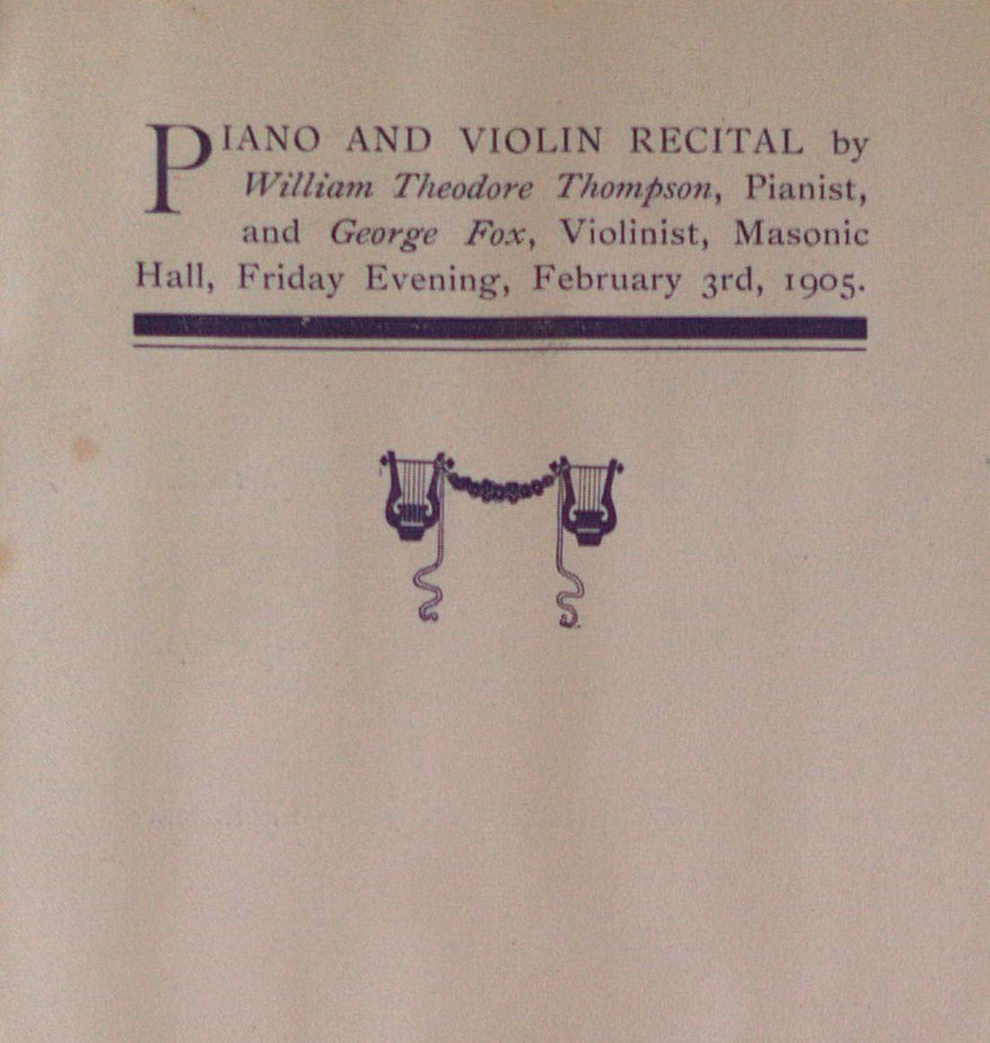 Teresa Vanderburgh's Musical Scrapbook #2 - Program for a Piano & Violin Recital