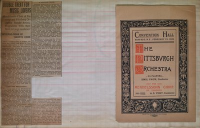 Teresa Vanderburgh's Musical Scrapbook #2 -  Program and Newspaper Review for The Pittsburgh Orchestra & The Mendelssohn Choir of Toronto