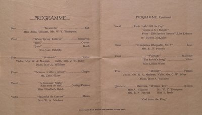 Teresa Vanderburgh's Musical Scrapbook #2 - St. Catharines Musical Association Program