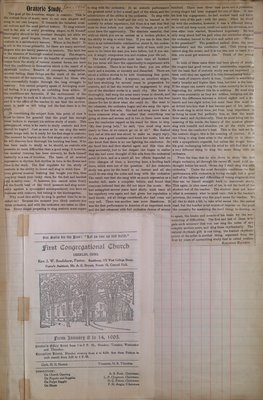 Teresa Vanderburgh's Musical Scrapbook #2 - Church Bulletin and an Article About Oratorio Study