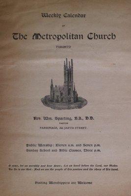 Teresa Vanderburgh's Musical Scrapbook #2 - Weekly Calendar for the Metropolitan Church, Toronto