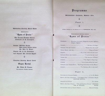 Teresa Vanderburgh's Musical Scrapbook #2 - Dedication of the Organ at the Metropolitan Church, Toronto
