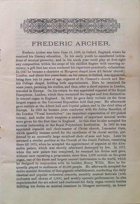 Teresa Vanderburgh's Musical Scrapbook #1 - Pamphlet: Frederic Archer