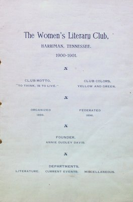 Teresa Vanderburgh's Musical Scrapbook #2 - The Women's Literary Club of Harriman, Tennessee