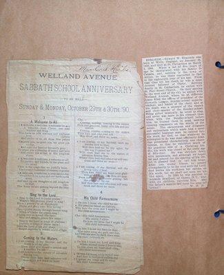 Welland Avenue Church Sunday School Anniversary Program and Obituary for Edward W. Edmonds