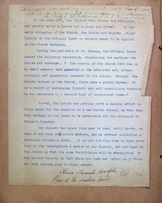 Report on the Ladies Aid Society at Welland Avenue Methodist Church