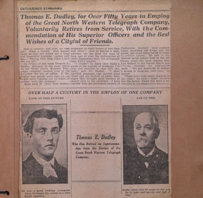 Retirement of Thomas E. Dudley from Great North Western Telegraph Company