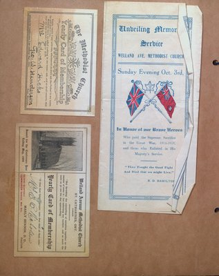 Welland Avenue Methodist Church Membership Cards and Memorial Service Program
