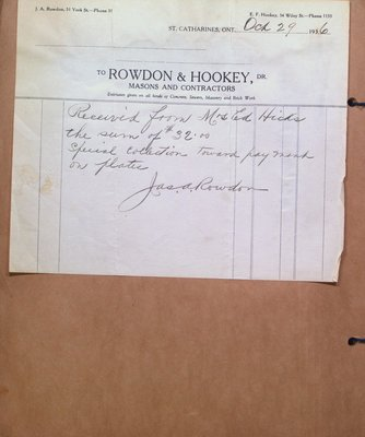 Receipt to Mrs Hicks from Rowdon & Hookey, Masons and Contractors
