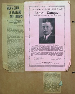 Welland Avenue Church Men's Club Ladies' Banquet and Obituary for Rev. George W. Kerby