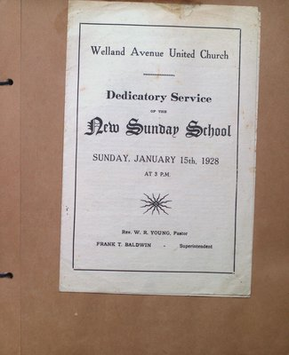 Program for the Dedicatory Service of the New Sunday School