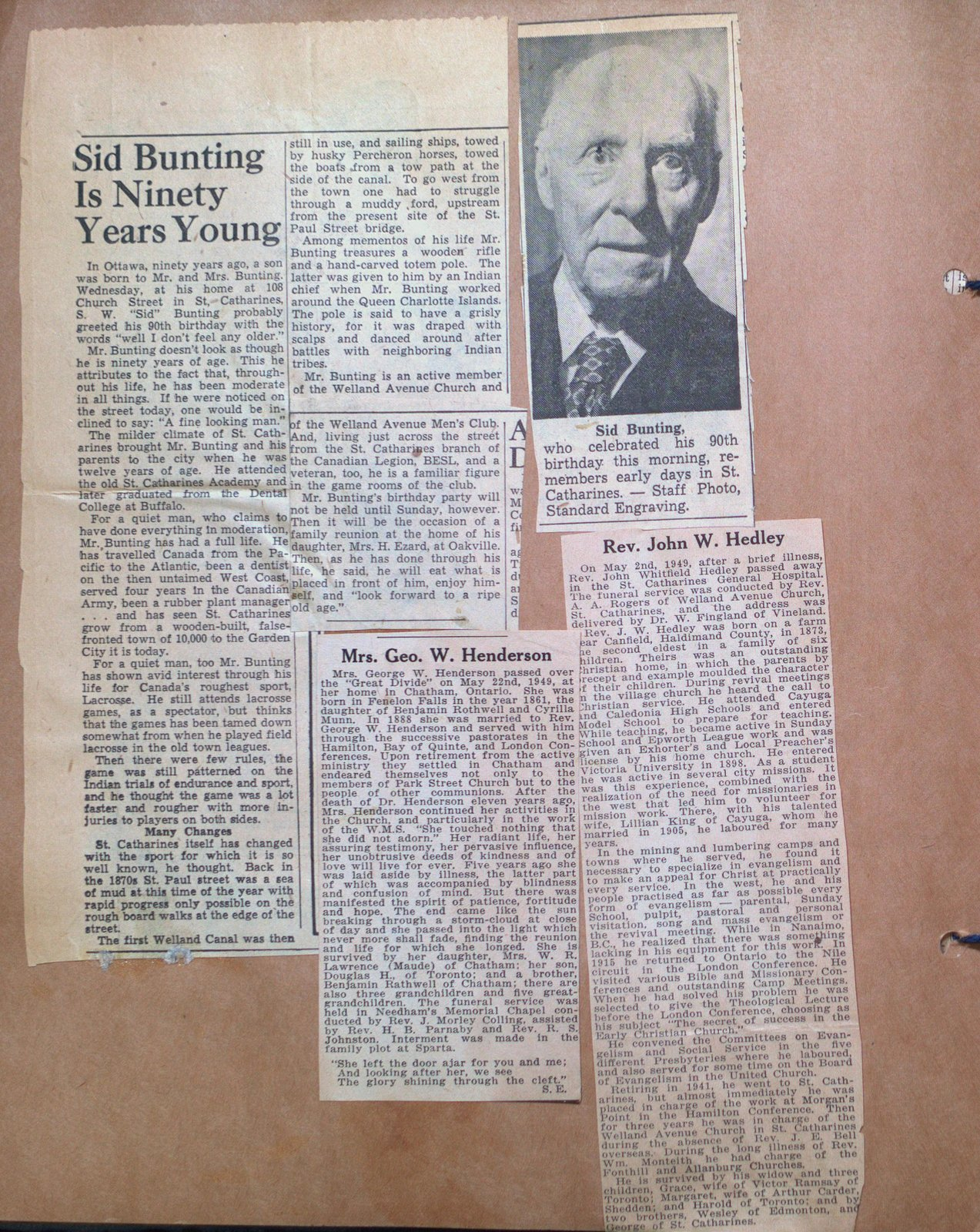 90th Birthday of Sid Bunting and Obituaries of Mrs. Henderson & Rev. John Hedley.