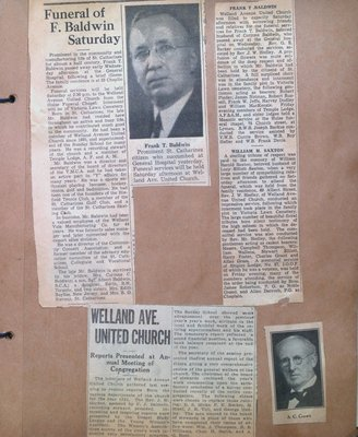 Obituaries for Frank Baldwin & William Saxton and the Report for the Annual Meeting of the Congregation