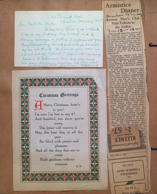 Letter to Mr & Mrs Hicks, Christmas Greetings and Armistice Dinner