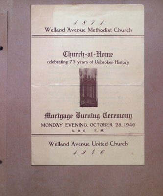 Mortgage Burning Ceremony for Welland Avenue United Church
