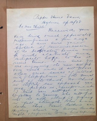 A Letter to Mrs. Hicks from R.S. Hamilton