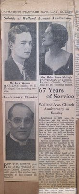 Welland Avenue United Church Sixty-Seventh Anniversary Celebrations
