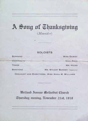 Program for A Song of Thanksgiving at Welland Avenue Methodist Church