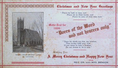 Christmas and New Years Greeting from Reverend Dr. & Mrs. Benson