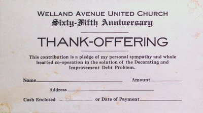 Welland Avenue United Church 65th Anniversary Offering Envelope