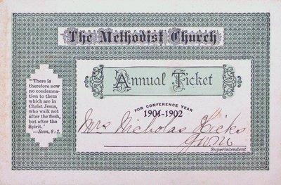 The Methodist Church Annual Ticket