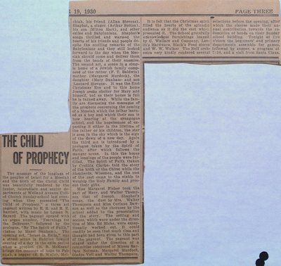 """Sunday School Pageant """"The Child of Prophecy"""""""