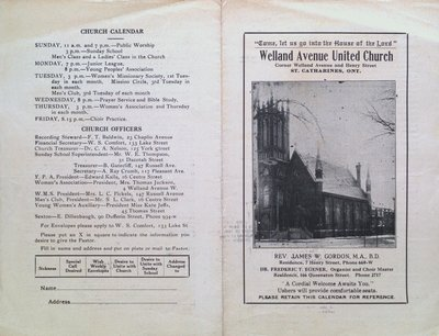 Welland Avenue United Church Bulletin