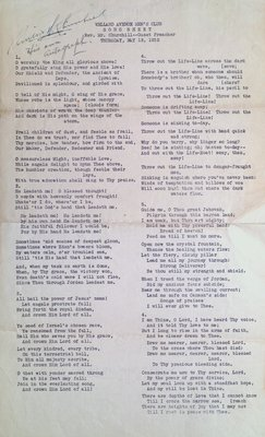 Welland Avenue Men's Club Song Sheet
