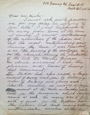 Letter to Mrs Hicks