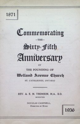 Commemoration Program for the 65th Anniversary of Welland Avenue Church