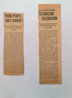 Welland Avenue Church 65th Anniversary and Diamond Jubilee Celebrations