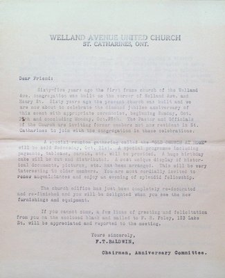 Letter to Former Members of Welland Avenue United Church