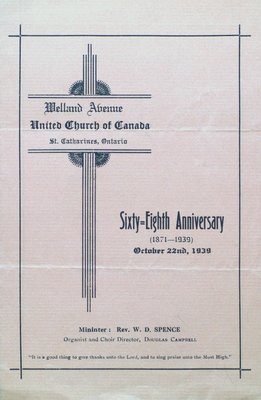 Welland Avenue United Church 68th Anniversary Program