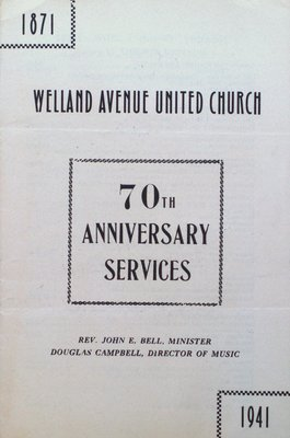 Welland Avenue United Church 70th Anniversary Program