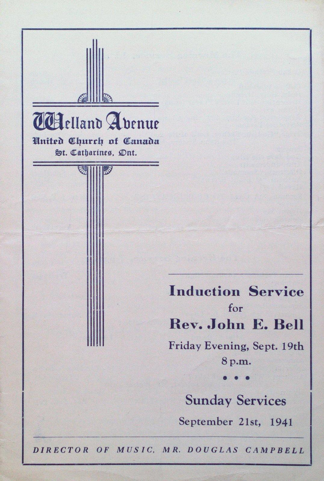 Induction Service for Reverend John E. Bell