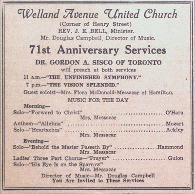 Invitation to the 71st Anniversary Services at Welland Avenue United Church