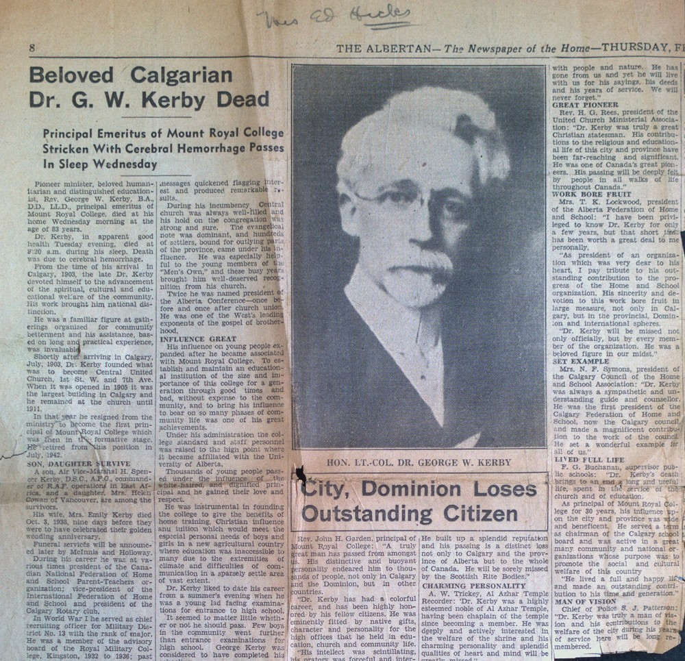 Death of Dr. G.W. Kerby of Calgary